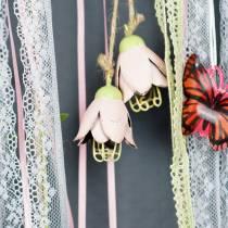 Decorazione da appendere fiore di metallo 13 cm 3 pezzi