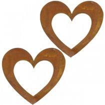 Cuore ruggine decorazione cuore giardino in metallo 15 cm 6 pezzi