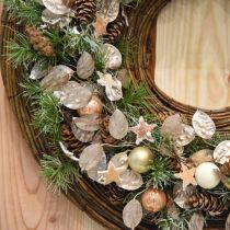 Ghirlanda decorativa foglia argento corona artificiale di foglie champagne Ø59cm