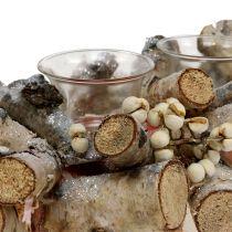 Disposizione delle candele con rami di betulla natura, mica 48cm