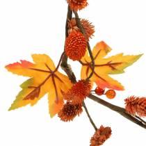 Ghirlanda autunnale con foglie di acero e coni d'arancia 1,28 m