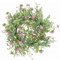 Ghirlanda di fiori dei prati con trifoglio Floccato Rosa, Verde Ø30cm