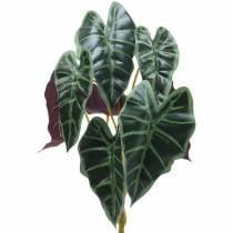 Pianta artificiale alocasia freccia verde foglia, viola H48cm