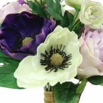 Mazzo con anemoni e rose Viola, crema 30 cm