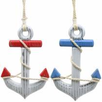Ancoraggio decorativo in legno rosso / blu, bianco 15 × 23,5 cm, set di 2