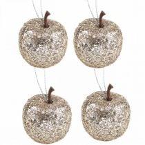 Deco mini mela glitter decorazioni albero champagne Ø3,5cm 24pz