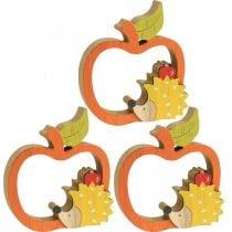 Figura decorativa autunno, mela con riccio, decorazione in legno 16,5 × 15 cm 3 pezzi