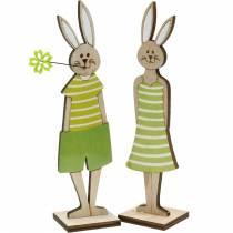 Supporto per coniglietto pasquale coniglietto verde in legno decorazione pasquale 4 pezzi