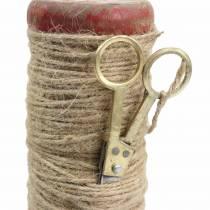 Rocchetto di filo con forbici decorative Ø6,5cm H15cm 2 pezzi stile vintage