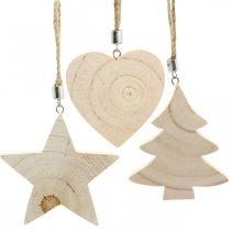 Ciondolo decorativo stella/cuore/albero di Natale, decorazione in legno, Avvento H9,5/8/10 cm 6 pezzi