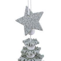 Addobbo natalizio Albero di Natale da sospendere con campana Colore argento 29 cm