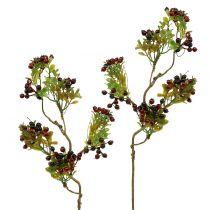Ramo di bacche artificiali Cotoneaster rosso 50 cm 2 pezzi