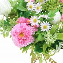Corona di bellis / scacchiera fiore rosa, bianco Ø30cm