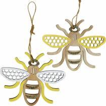 Decoro da appendere api giallo, bianco, dorato decoro estivo in legno 6pz