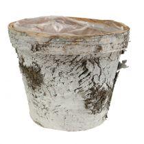 Pentola in betulla lavata bianca Ø13cm H11cm