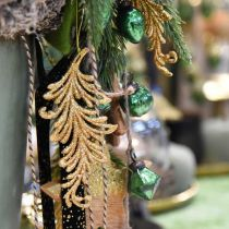 Ciondolo albero con glitter, piume decorative da appendere, decorazione natalizia Dorato L16cm 6pz