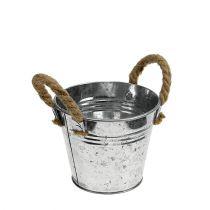 Secchio di latta con manici in corda lucido Ø12cm