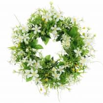 Corona anemone / aneto verde, bianco Ø30cm