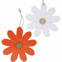 Ciondoli di fiori, fiori decorativi arancioni e bianchi, decorazioni in legno, estate, fiori decorativi 8 pezzi