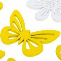 Fiori e farfalle da spolverare giallo, decorazione in legno bianco 72pz