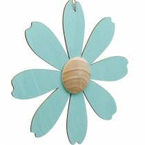 Fiori in legno da appendere, decorazioni primaverili, fiori in legno rosa e blu, estivi, fiori decorativi 4pz