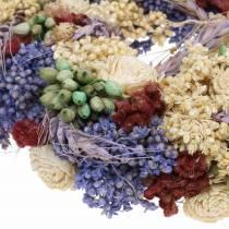 Ghirlanda decorativa di erba secca e fiori artificiali lilla Ø20cm