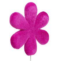 Spina fiore floccato Ø8,5cm 8 pezzi