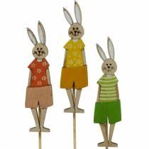 Spina di fiori Coniglietto di Pasqua su un bastone Spina di decorazione coniglietto di legno Decorazione di Pasqua 9 pezzi
