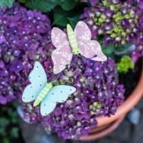 Spilla fiore farfalla legno 18 cm 12 pezzi
