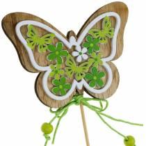 Spina fiore farfalla decorazione primavera legno su asta 12 pezzi