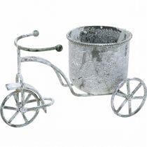 Fioriera bicicletta metallo vintage lavato bianco 24 × 13 × 14 cm