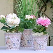 Vaso da fiori in metallo rose fioriera decorazione estiva Ø15cm H15.5cm