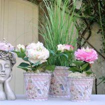 Vaso da fiori in metallo rose fioriera decorazione estiva Ø13.5cm H11.5cm