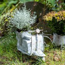 Vaso da fiori per scooter in metallo vintage lavato bianco 35 × 12 × 23 cm