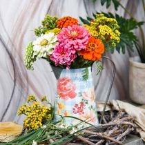 Vaso per fiori deco brocca in metallo vintage decorazione del giardino fioriera H23cm