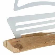 Stivale su base in legno metallo bianco 25 cm H24,5 cm