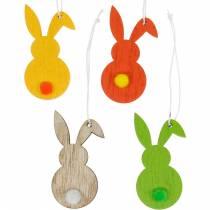 Appendiabiti in legno colorato coniglietto pasquale 12 pezzi