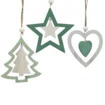 Decorazioni misti per albero di Natale Verde, bianco 10 cm 9 pezzi