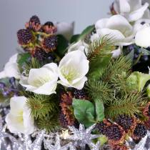 Mazzo di rose di Natale 39cm crema