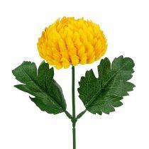 Crisantemo giallo artificiale Ø7cm L18cm