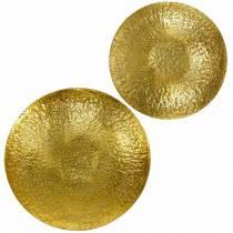 Ciotola decorativa dorata in metallo Ø35 / 46 cm, set di 2