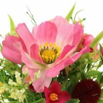 Mazzo decorativo Cosmea e palla di neve in mazzetto H18cm rosa smistato artificialmente