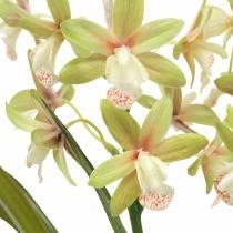 Orchidea artificiale Cymbidium in vaso Verde A46cm
