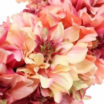 Ghirlanda di fiori Dalia rosa, crema Ø42cm