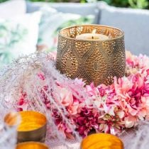 Ghirlanda di fiori di dalia rosa, crema Ø42cm