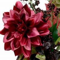 Bouquet artificiale con dalia e bacche viola 45 cm