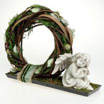 Figura commemorativa angelo addormentato grigio 16 cm 2 pezzi