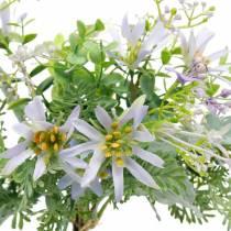 Bouquet decorativo, fiori di seta viola, decorazioni primaverili, astri artificiali, garofani ed eucalipto