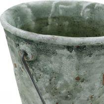 Secchio decorativo, ceramica per piantare, decorazione del giardino, secchio per piante ottica antica Ø13,5cm H12cm 2 pezzi