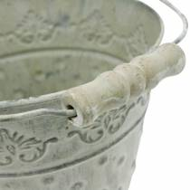 Secchio decorativo fioriera in metallo punteggiato verde Ø15.5cm bianco lavato